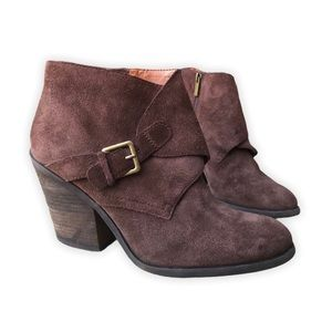 Lucky Brand Eastin Suede Chunky Heel Ankle Boot